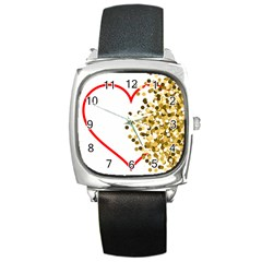 Heart Transparent Background Love Square Metal Watch