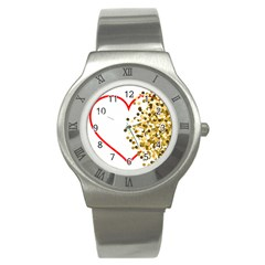 Heart Transparent Background Love Stainless Steel Watch