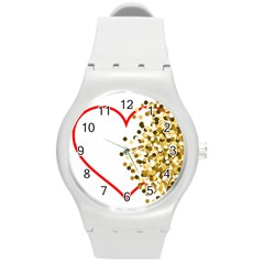 Heart Transparent Background Love Round Plastic Sport Watch (M)