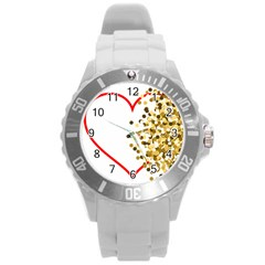 Heart Transparent Background Love Round Plastic Sport Watch (L)