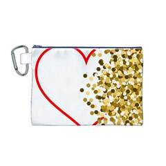 Heart Transparent Background Love Canvas Cosmetic Bag (m)