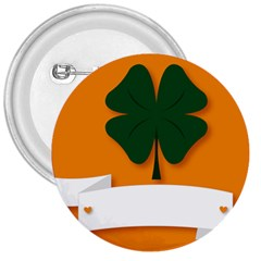 St Patricks Day Ireland Clover 3  Buttons