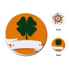 St Patricks Day Ireland Clover Playing Cards (round)