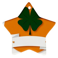 St Patricks Day Ireland Clover Star Ornament (two Sides)