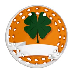 St Patricks Day Ireland Clover Ornament (round Filigree)