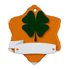 St Patricks Day Ireland Clover Snowflake Ornament (two Sides)