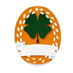 St Patricks Day Ireland Clover Oval Filigree Ornament (Two Sides)