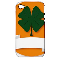 St Patricks Day Ireland Clover Apple Iphone 4/4s Hardshell Case (pc+silicone)