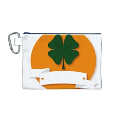 St Patricks Day Ireland Clover Canvas Cosmetic Bag (m)