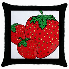 Strawberry Holidays Fragaria Vesca Throw Pillow Case (black)