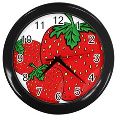 Strawberry Holidays Fragaria Vesca Wall Clocks (black)
