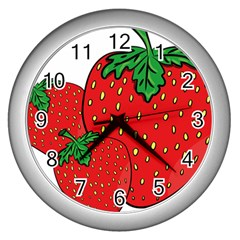 Strawberry Holidays Fragaria Vesca Wall Clocks (silver)