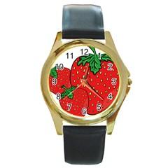 Strawberry Holidays Fragaria Vesca Round Gold Metal Watch