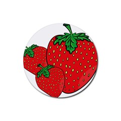 Strawberry Holidays Fragaria Vesca Rubber Round Coaster (4 Pack)