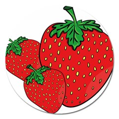 Strawberry Holidays Fragaria Vesca Magnet 5  (round)