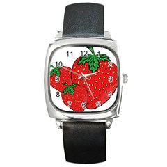 Strawberry Holidays Fragaria Vesca Square Metal Watch