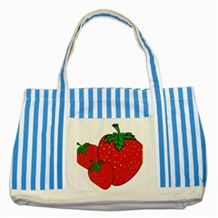 Strawberry Holidays Fragaria Vesca Striped Blue Tote Bag