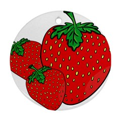 Strawberry Holidays Fragaria Vesca Round Ornament (two Sides)