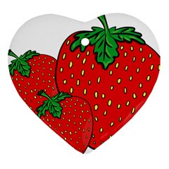 Strawberry Holidays Fragaria Vesca Heart Ornament (two Sides)