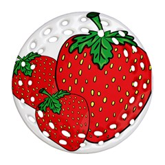 Strawberry Holidays Fragaria Vesca Round Filigree Ornament (two Sides)