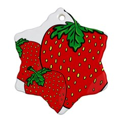 Strawberry Holidays Fragaria Vesca Snowflake Ornament (two Sides)
