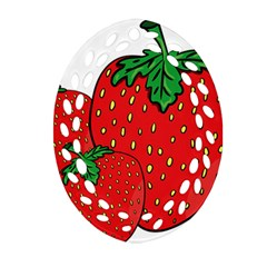 Strawberry Holidays Fragaria Vesca Oval Filigree Ornament (two Sides)