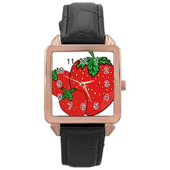 Strawberry Holidays Fragaria Vesca Rose Gold Leather Watch