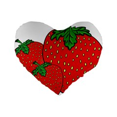 Strawberry Holidays Fragaria Vesca Standard 16  Premium Flano Heart Shape Cushions