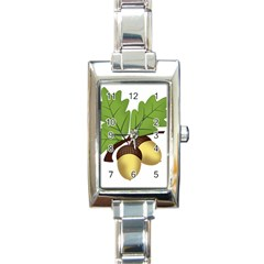 Acorn Hazelnuts Nature Forest Rectangle Italian Charm Watch