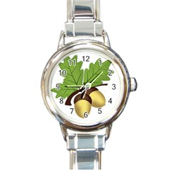 Acorn Hazelnuts Nature Forest Round Italian Charm Watch