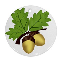 Acorn Hazelnuts Nature Forest Ornament (round)