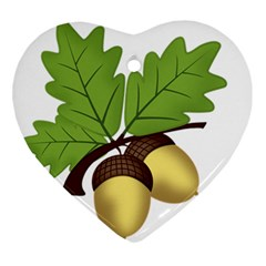 Acorn Hazelnuts Nature Forest Ornament (heart)