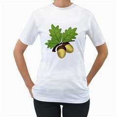 Acorn Hazelnuts Nature Forest Women s T Shirt (white) (two Sided)
