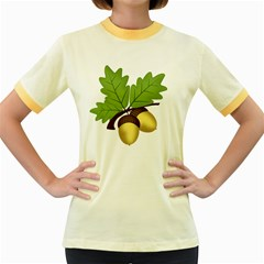Acorn Hazelnuts Nature Forest Women s Fitted Ringer T Shirts