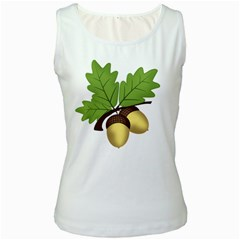Acorn Hazelnuts Nature Forest Women s White Tank Top