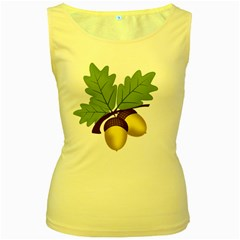 Acorn Hazelnuts Nature Forest Women s Yellow Tank Top