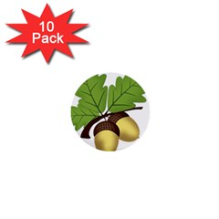 Acorn Hazelnuts Nature Forest 1  Mini Buttons (10 Pack)