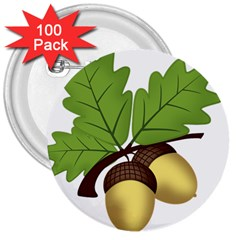 Acorn Hazelnuts Nature Forest 3  Buttons (100 Pack)