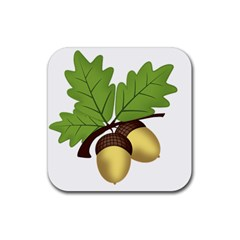 Acorn Hazelnuts Nature Forest Rubber Coaster (square)