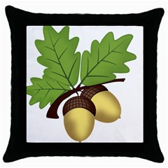 Acorn Hazelnuts Nature Forest Throw Pillow Case (black)