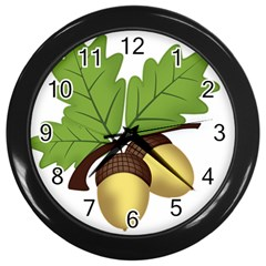 Acorn Hazelnuts Nature Forest Wall Clocks (black)