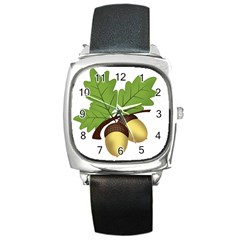 Acorn Hazelnuts Nature Forest Square Metal Watch