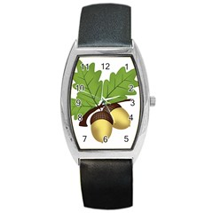 Acorn Hazelnuts Nature Forest Barrel Style Metal Watch