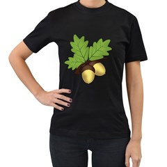 Acorn Hazelnuts Nature Forest Women s T Shirt (black) (two Sided)