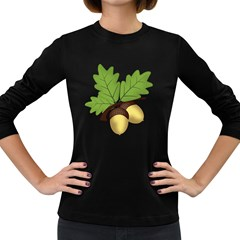 Acorn Hazelnuts Nature Forest Women s Long Sleeve Dark T Shirts