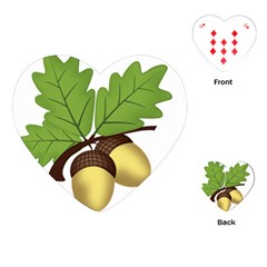 Acorn Hazelnuts Nature Forest Playing Cards (heart)