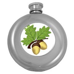 Acorn Hazelnuts Nature Forest Round Hip Flask (5 Oz)