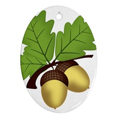 Acorn Hazelnuts Nature Forest Oval Ornament (two Sides)