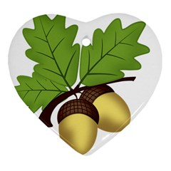 Acorn Hazelnuts Nature Forest Heart Ornament (Two Sides)