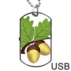 Acorn Hazelnuts Nature Forest Dog Tag USB Flash (One Side)